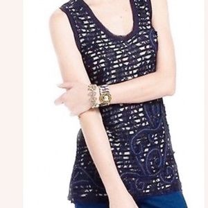 Anthro Meadow Rue Blue Lace Overlay Sleeveless Top